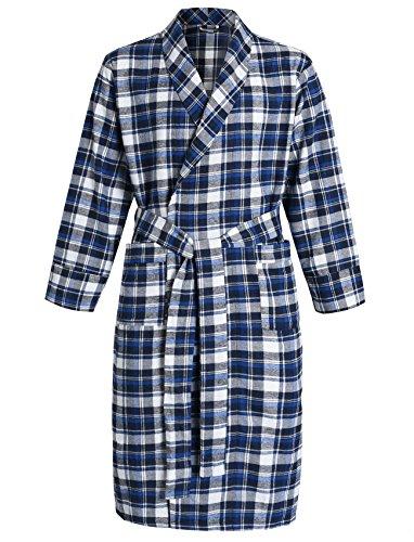 Latuza Men's Cotton Flannel Robe L Blue