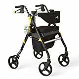 Best Deal on Folding Chairs Medline Premium Empower Folding Mobility Rollator Walker with 8-inch Wheels, Black