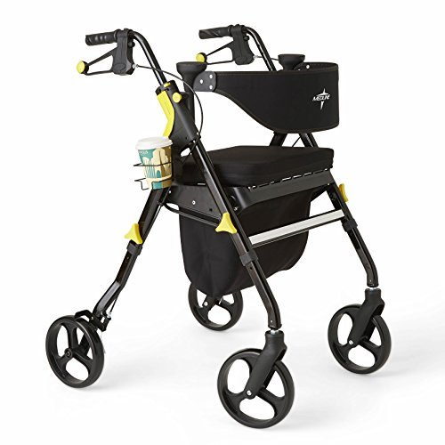 Medline Premium Empower Rollator Walker with Seat, Folding Rolling Wal