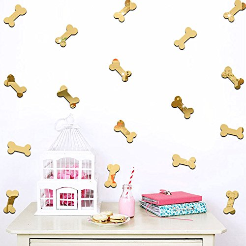 20PCS Of 3D Cartoon Dog Food Bone Mirror Wall Stickers For Kids Rooms DIY Art Acrylic Decorative Sticker Mural (Gold) - 3d Dog Bone