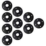 3/4'' Pipe Flange (10 Piece Set) Black Metal Mounting for DIY Floating Wall Shelves, Vintage Industrial Cast Iron Decor, Threaded Bookshelf Fittings, Shelving, Plumbing Furniture Floor Mount Shelf Unit