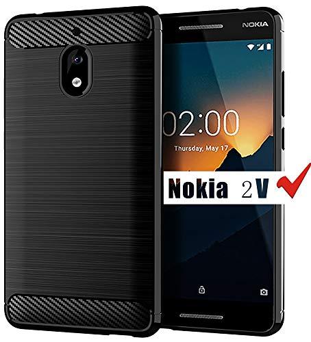 Nokia 2V Case, HNHYGETE Soft Slim Shockproof Anti-Fingerprint Full Protective Phone Cases for Motorola Nokia 2.1 case (Black)