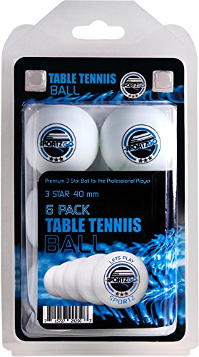 Sportly  ® Table Tennis Ping Pong Balls, 3-Star 40mm Advanced Training Regulation Size Balls,6 Pk White
