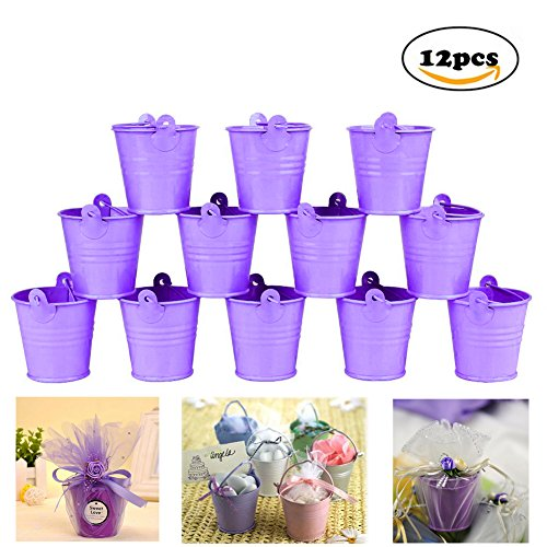 Dproptel All-in-1 Mini Metal Bucket Candy Favours Box Pail Wedding Party Gift / Serving Bucket, Chip Bucket, Condiment Packet Holder, Ash Tray Bucket (Purple)
