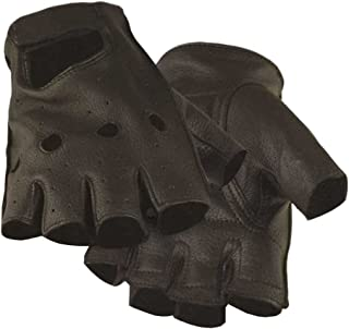product image for Northstar Mens Deerskin Motorcycle Glove Black (Unlined) Fingerless, Padded 031B