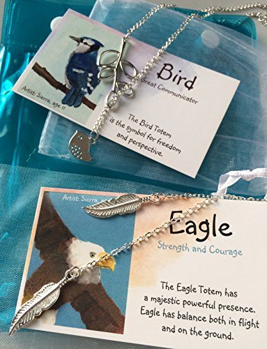 (Smiling Wisdom - Bird & Eagle Totem Spirit Animal Guide Gifts- 2 Gift Sets - Bird Leaf Necklace, Eagle Wing Necklace - Teenage Girls, Choker Style - All)