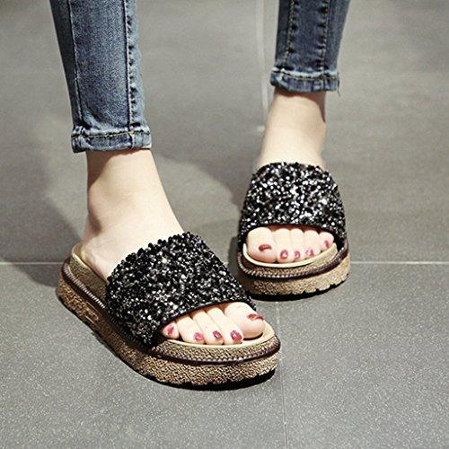 Sandales Femmes Noir Plate air de Coin Slide Plein Forme Fleurs Dames en Chaussures de Mode d'été ggUnt