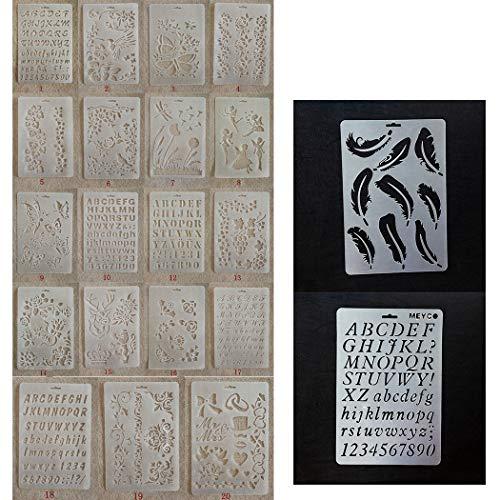 JUSTDOLIFE 21PCS Painting Stencil Transparent Mix Patterns DIY Craft Drawing ()