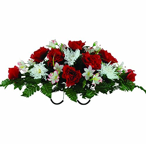 Artificial Rose Arrangement (Red Open Rose and White Fuji Mums Artificial Saddle Arrangement (SD1643))