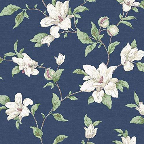 (York Wallcoverings PH4631 Artisan Estate Magnolia Vine Wallpaper, deep Blue, Beige, Ecru, Brown, Red,)