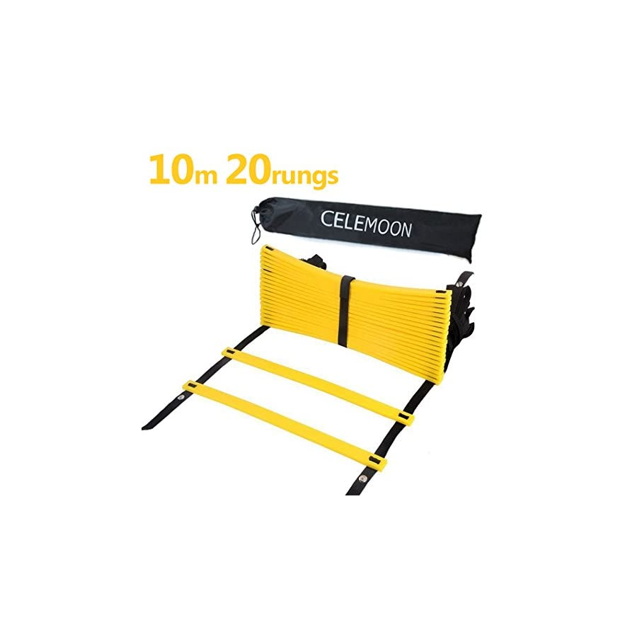 CELEMOON Upgraded Material 20 Rungs Agility Speed Training Ladder + Black Carry Case, with Connecting Snap, Ideal for Soccer, Football, Fitness, Feet Training, Yellow