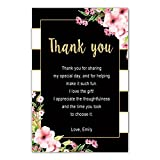 30 Thank You Cards Black Pink Watercolor Flowers Bridal Shower Cards Photo Paper