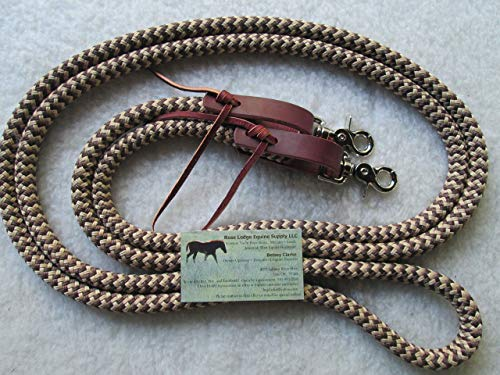 Yacht Rope Loop Reins w Leather Straps + Snaps Snakeskin Pattern Tan/Brown! Perfect for Trail or Training.