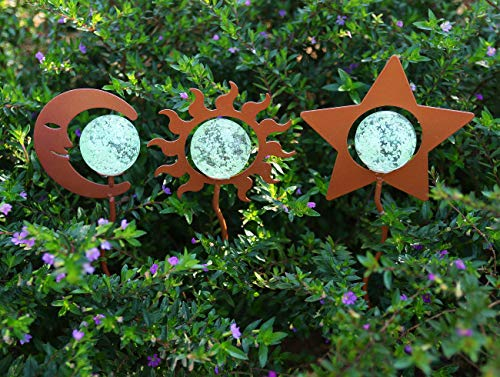 Artisan Crafts and Design Glow in The Dark Sun Moon Star Pot Stake Assortment Indoor & Outdoor Garden Decor