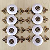 SunKni Prime Quality 8Pcs Vintage Ceramic Knobs Handles Pulls for Kitchen Furniture Door Drawer Cabinet Dresser Closet Wardrobe Cupboard Vanities with Screws New Sets Pack of 8 (Broze-White)