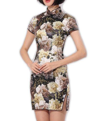 Chic Qipao Asiatische FREIE 122 Mode Erlesenes FRACHT Chinesisch Cheongsam Grau Cocktailkleid Kleid 5fXC50qw