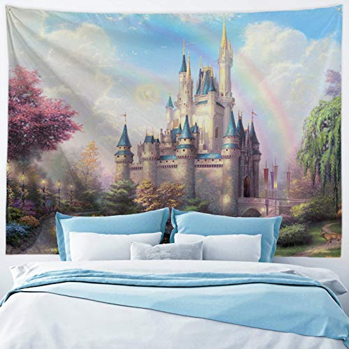 (Baccessor Fantasy Castle Tapestry Colorful Rainbow Forest Princess Lake White Swan Fairy Tale World Wall Hanging Tapestry for Girls' Bedroom, 80