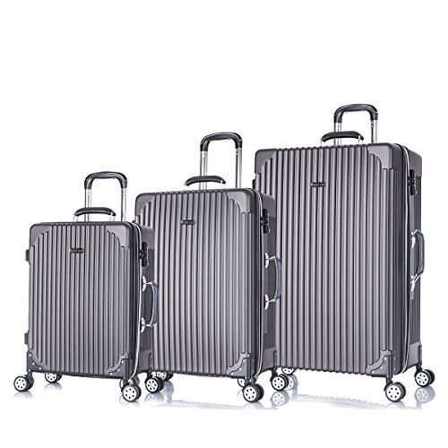 3 PC Luggage Set Durable Phone Charge Feature Suitecase LUG3 LY69 DARK GREY
