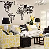Miihome World Map In Words Removable Vinyl Wall Sticker Decal