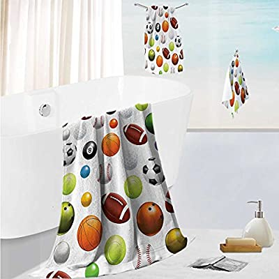 """SCOCICI1588 Luxury Bath Towel SetBall and Ir Club Grass and Cloudy Sky Shining Sun Practicing Soft, Plush and Highly Absorbent 13.8""""x13.8""""-11.8""""x27.6""""-27.6""""x55.2"""""""