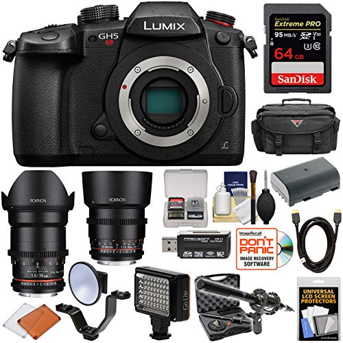 Panasonic Lumix DC-GH5S Wi-Fi C4K Digital Camera Body with 35mm & 85mm T/1.5 CINE Lenses + 64GB + Battery + Case + LED Light & Flash + Mic Kit