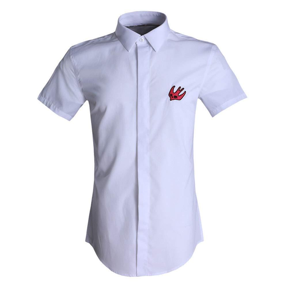 Blanc Medium Chemises Hommes Décontracté, Chemise habillée coupe ajustée à hommeches courtes pour hommes Chemise à hommeches courtes en coton pour adolescent, chemise de travail décontractée Chemise de ville él&eacu