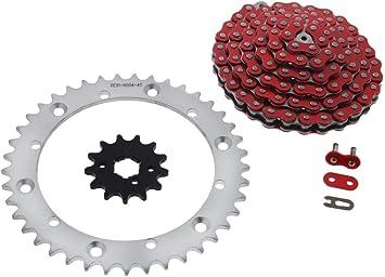 Red Non O-Ring Chain /& Silver Sprocket 13//41 104 89-06 fits Yamaha YFZ350 350 Banshee