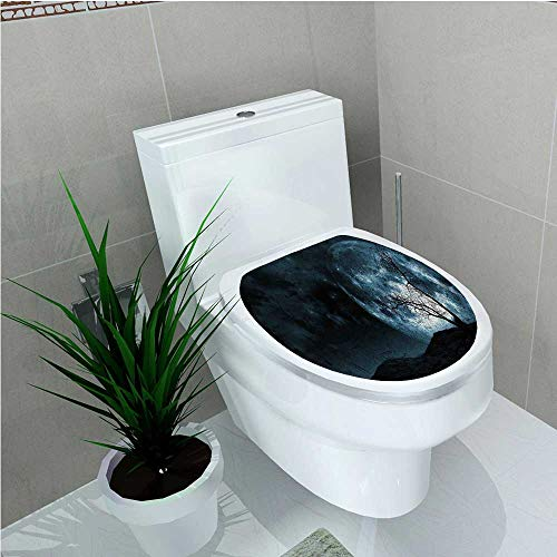 aolankaili Toilet Seat Sticker Moon Sky with Tree Silhouette Gothic Halloween Colors Scary Artsy Background Slate Blue W14 x -