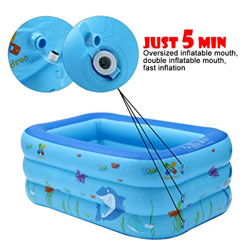 Outdoor GONGting Inflatable Kiddie Pool 51.2 X 33.4 X 21.6 Backyard for Ages 2+ Garden Cute Shark Kids Swimming Pool Summer Water Fun Bathtub,for Family