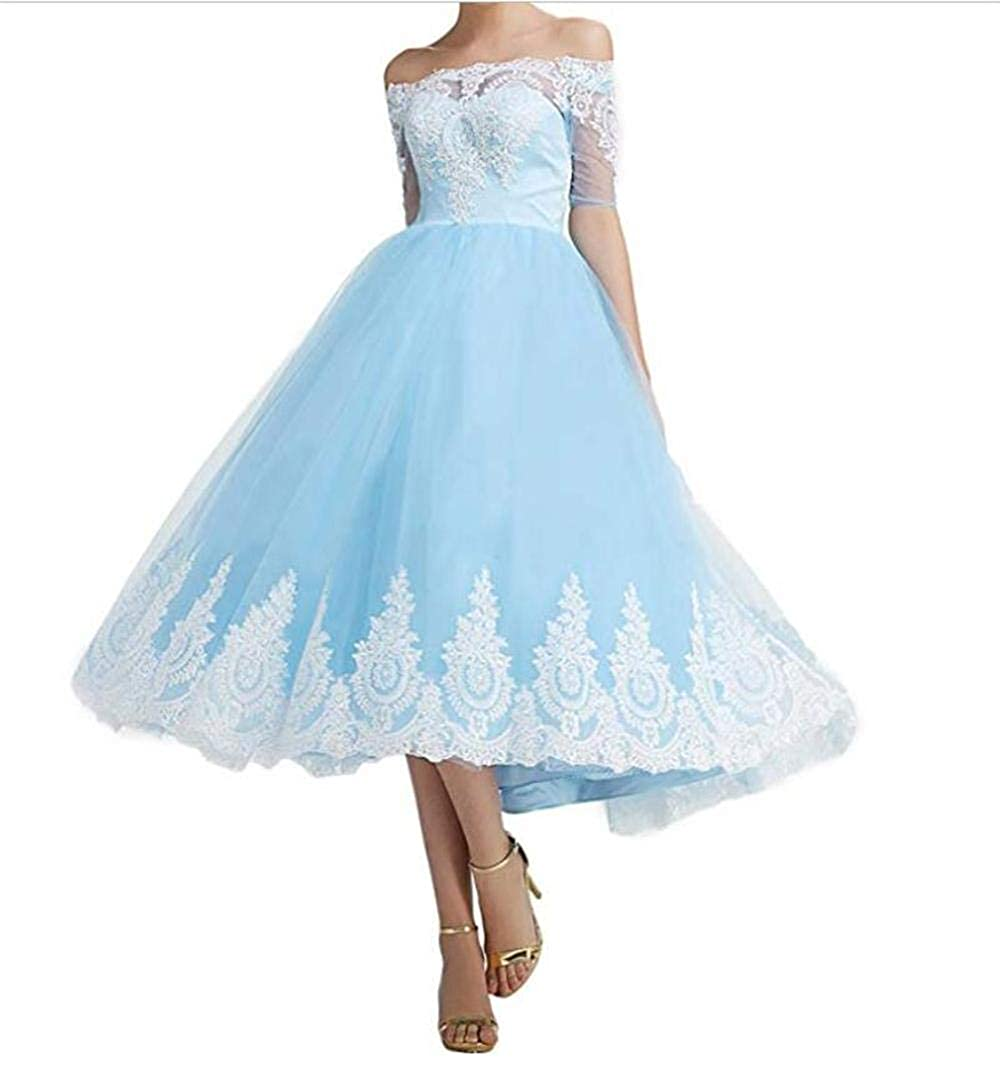 bluee Dydsz Women's Evening Prom Dresses for Formal Gown with Sleeves Off The Shoulder D299