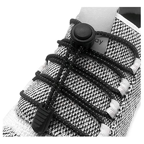 (Elastic No Tie Shoelaces - Never Tie Quick Stretch Replacement Shoe Laces Sneakers Reflective String With Locks For Kids and Adults, Running, Hiking & Other Sports (Black))