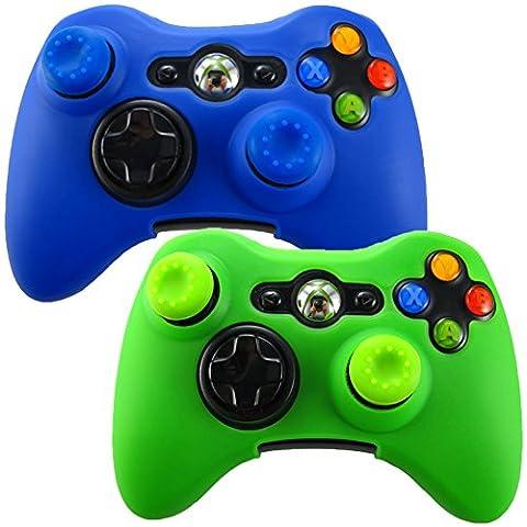 Pandaren Soft Silicone Skin for Xbox 360 Controller Set(Skin X 2 + Thumb Grip X 4)(Blue,Green) (Xbox 360 Aluminum Triggers)