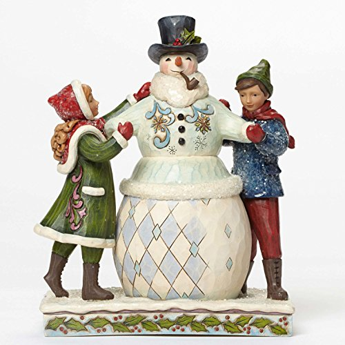 Jim Shore for Enesco Heartwood Creek Victory Children Building Snowman Figurine, 8.125
