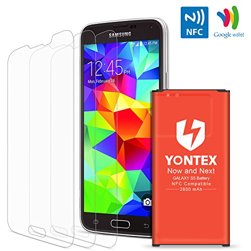 S5 Battery [ NFC / Google Wallet Capable] , YONTEX 2800mAh Replacement Battery for Samsung Galaxy S5 and S5 Active [I9600,G870A, G900V, G900A, G900T, G900P] with 3 Pack Screen Protector