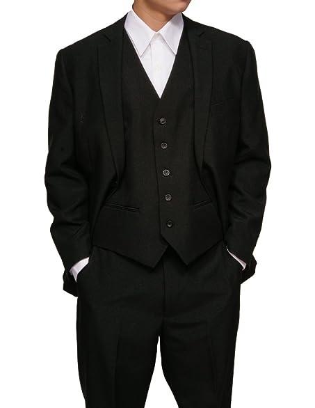 New Men's 3 Piece Slim Fit Black Dress Suit with Jacket, Pants ...