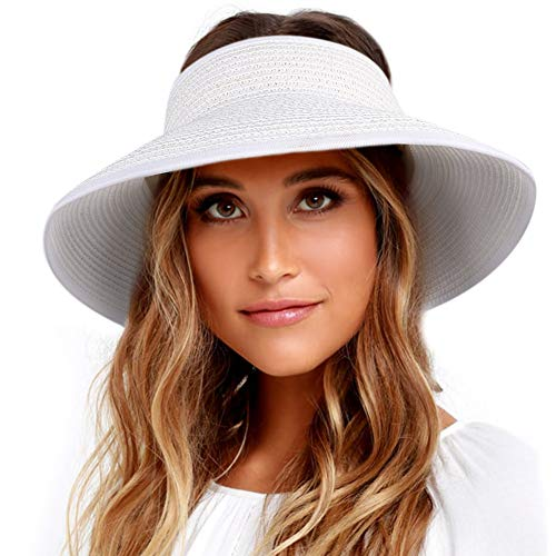 White Come Back Adjustable Hat - Sun Visor Hats for Women Wide Brim Straw Roll Up Ponytail Summer Beach Hat UV UPF 50 Packable Foldable Travel FURTALK (One Size, 21.6''-23.6'' White)
