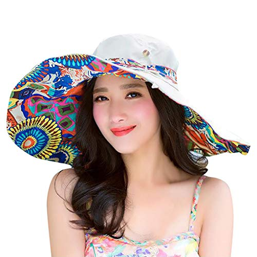 Beach Cap Women Print Two-Side Big Brim Straw Hat Sun Floppy Wide Brim Hats Beige - Golf Screen Print Cap