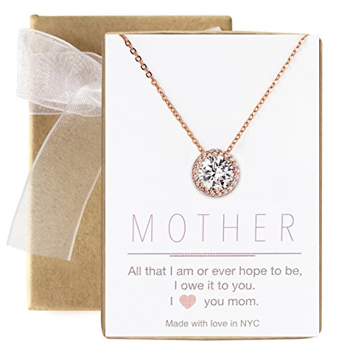 AMY O Rose Gold Solitaire Halo CZ Pendant Necklace for Women, Gift for mom