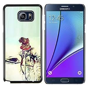 Caucho caso de Shell duro de la cubierta de accesorios de protección BY RAYDREAMMM - Samsung Galaxy Note 5 5th N9200 - Traje espacial Reptil dragón Astronauta Arte extranjero