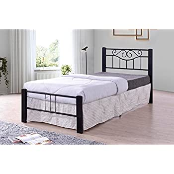 Amazon Com Black Scroll Metal Platform Bed Frame Twin