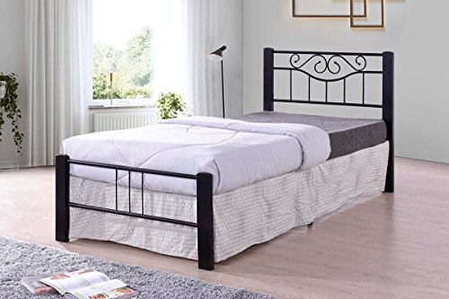 Price comparison product image Black Scroll Metal Platform Bed Frame Twin Size,  Headboards and Footboard with Solid Wood Legs and Full Slats - Need Mattress only,  No Box Spring