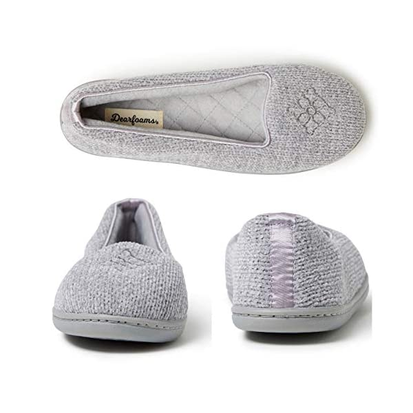 Dearfoams Womens Rebecca Chenille Closed Back Casual Slippers Shoes,