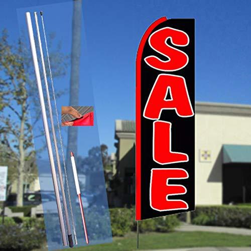 (SALE (Black/Red) Flutter Feather Banner Flag Kit (Flag, Pole, & Ground Mt))