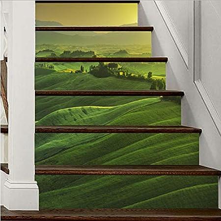 Fandhyy Verde Montaña Pegatinas De Escalera Decoración para El Hogar Escalera Mural Autoadhesiva DIY Escalera Renovación Calcomanías Vinilo Wallpapers Extraíble Impermeable: Amazon.es: Hogar