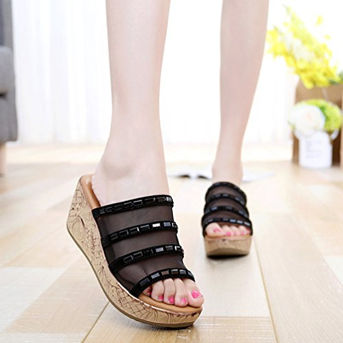 Engrener Noir Forme Compensées Femmes Mode Pantoufles Anguang Flops Chaussons Plate Flip RZwqaHWU