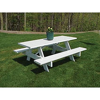 Incredible Dura Trel Inc Picnic Table W Benches In White Finish 96 In Gmtry Best Dining Table And Chair Ideas Images Gmtryco