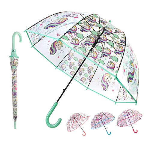 Saisong Clear Bubble Umbrellas with Unicorn Transparent Dome Umbrella Auto OpenWindproof for Kids (Green)