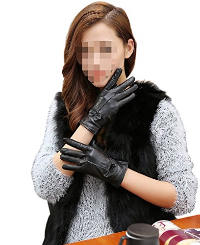 SEADEAR Women's Winter Warm Fashion Cashmere Lining Leather Gloves Driving Gloves(Black)