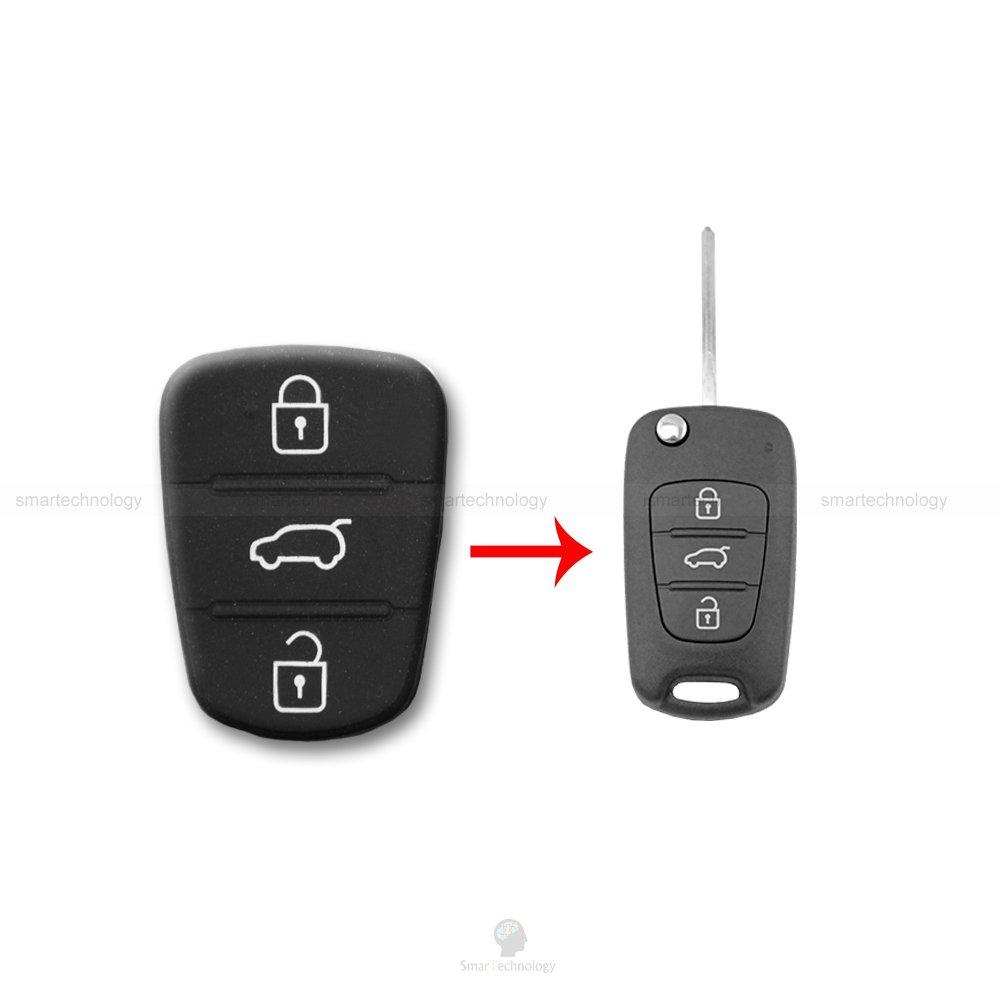 Botones de goma teclado llave mando coche 3 teclas Hyundai i20 i30 y Kia Sorento Picanto Smartechnology