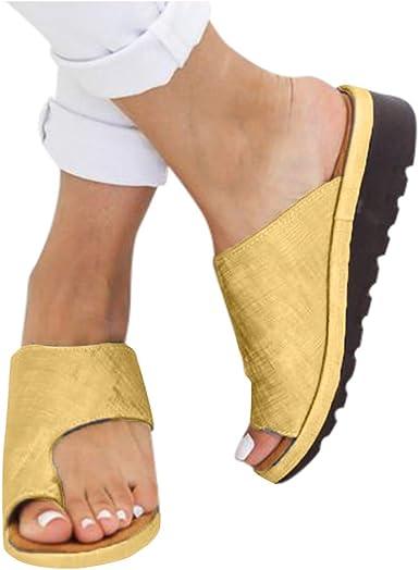 Women/'s Toe Ring Wedge Heel Slip On Sandals Comfy Platform Sliders Mules Shoes